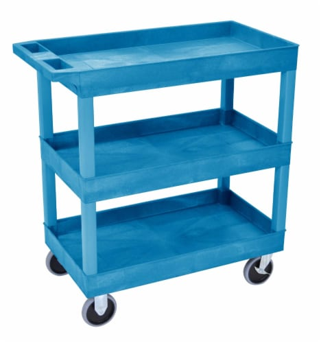 Luxor HD High Capacity 3 Tub Shelves Cart in Blue Perspective: front