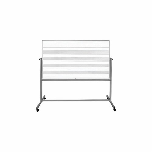"""Luxor 72""""W X 48""""H Mobile Double Sided Music Whiteboard Perspective: front"""