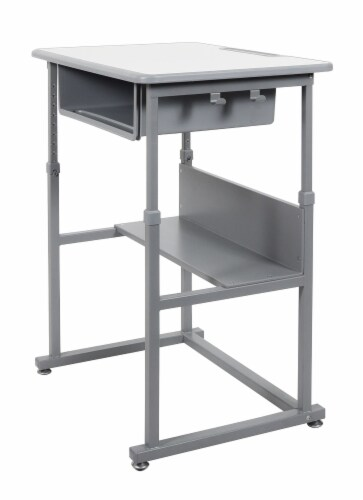 Offex STUDENT-M Student Manual Adjustable Desk - Light Gray/Medium Gray Perspective: front