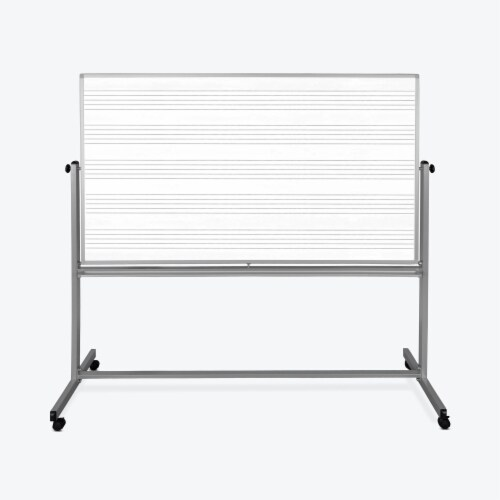 Luxor 72 W X 48 H Mobile Double Sided Music Whiteboard - 1 Pack Perspective: front