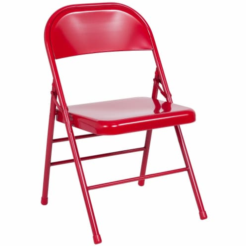 Red Metal Folding Chair Perspective: front