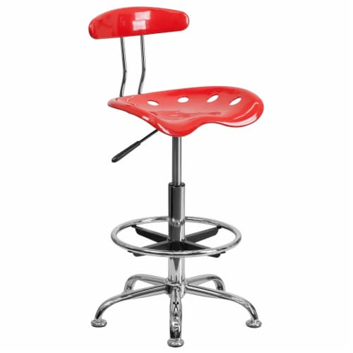 Flash Furniture Vibrant Cherry Tomato and Chrome Drafting Stool with Tractor Seat Perspective: front