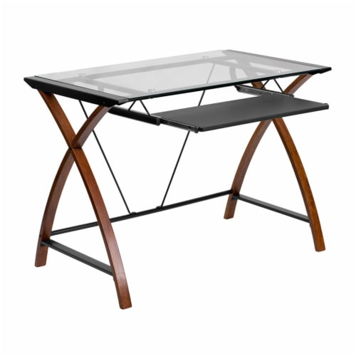 Flash Furniture Glass Computer Desk with Pull-Out Keyboard Tray and Crisscross Frame Perspective: front