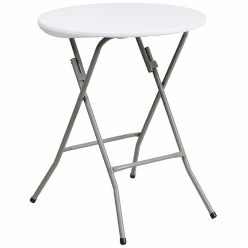Flash Furniture 24  Round Granite White Plastic Folding Table Perspective: front