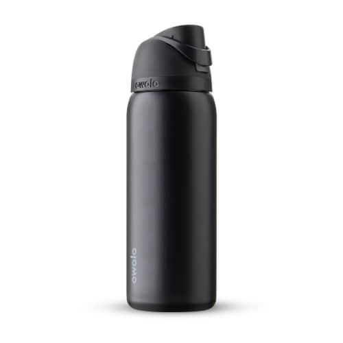 Owala FreeSip Stainless Steel Water Bottle - Very Very Dark Black Perspective: front