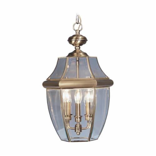 Livex Lighting 2355-01 Monterey 3 Light Outdoor Hanging Lantern in Antique Brass Perspective: front