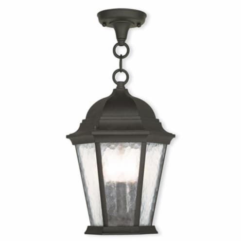 Livex 75469-14 Hamilton 3 Light Outdoor Chain-hang Lantern In Textured Black Perspective: front