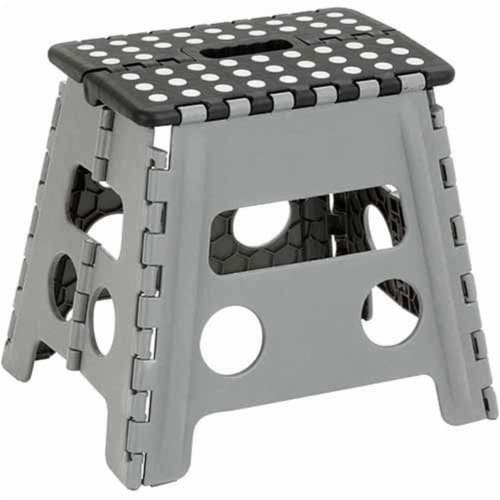 Honey-Can-Do TBL-02977 step stool 12'' folding, Black/Gray Perspective: front