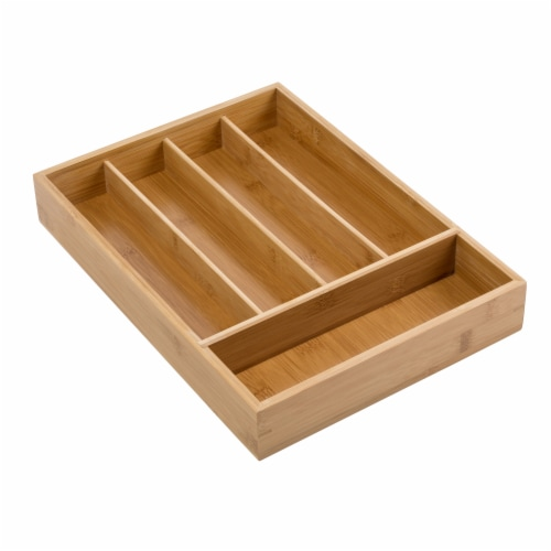 Honey Can Do Bamboo Flatware Tray - Brown Perspective: front