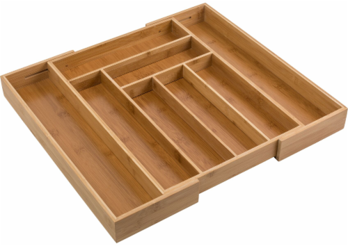 Honey Can Do Expandable Bamboo Tray - Brown Perspective: front