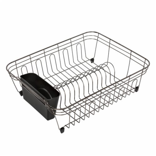 Honey Can Do Chrome Dish Drying Rack - Black Perspective: front