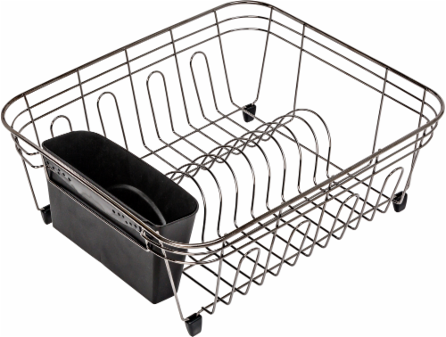 Honey Can Do Dish Drying Rack - Black Chrome Perspective: front