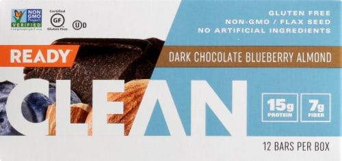 Come Ready  Clean Protein Bars- Dark Chocolate Blueberry Almond Protein Bars Perspective: front