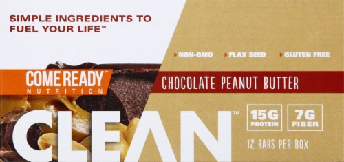 Come Ready  Clean Protein Bars- Chocolate and Peanut Butter Protein Bars Perspective: front