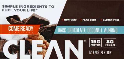 Come Ready  Clean Protein Bars   Dark Chocolate Coconut Almond Protein Bars Perspective: front