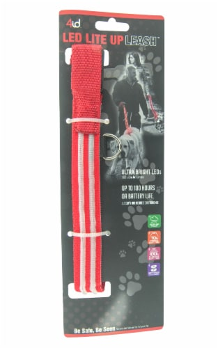 4id LED Light Up Leash - Red Perspective: front