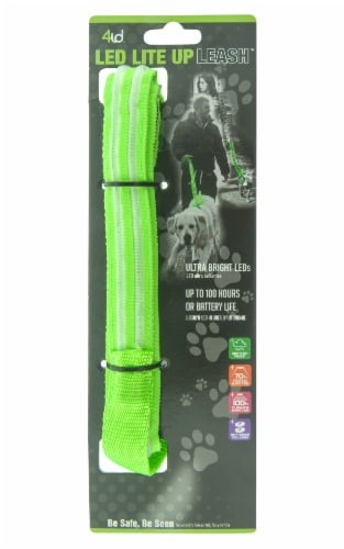 4id LED Light Up Leash - Green Perspective: front