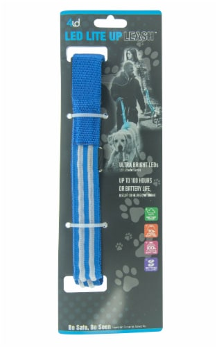 4id LED Light Up Leash - Blue Perspective: front