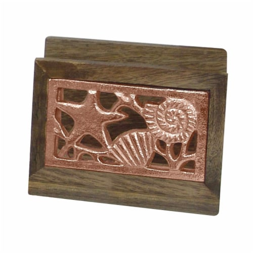 NuSteel TG-NP-01C Wooden Napkin Holder with Burnt Wood & Copper Perspective: front