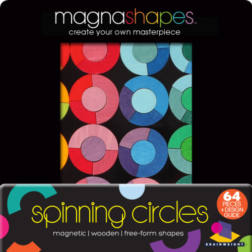 Brainwright MagnaShapes Spinning Circles Puzzle Perspective: front