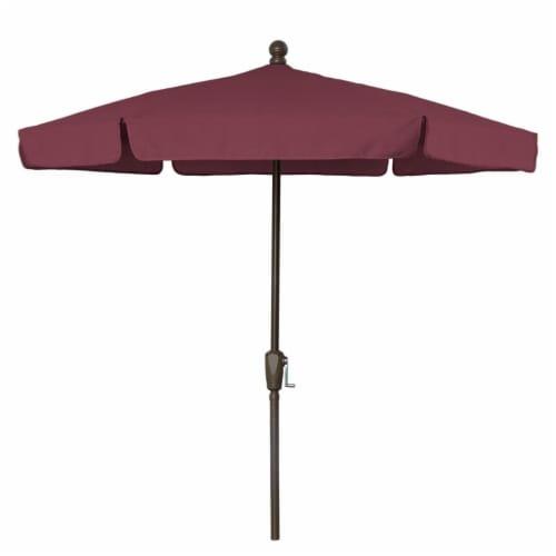Fiberbuilt 7GCRCB-Burgundy 7.5 ft. 6 Rib Crank Champagne Bronze Hex Garden Umbrella with Burg Perspective: front
