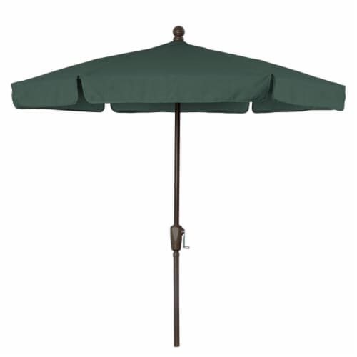 Fiberbuilt 7GCRCB-Forest Green 7.5 ft. 6 Rib Crank Champagne Bronze Hex Garden Umbrella with Perspective: front