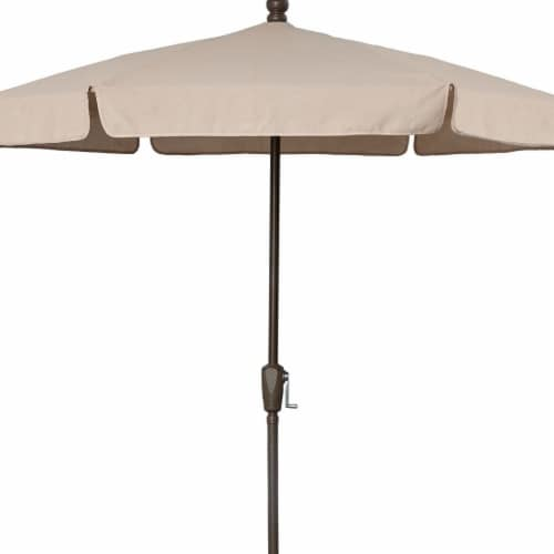 Fiberbuilt 7GCRCB-Beige 7.5 ft. 6 Rib Crank Champagne Bronze Hex Garden Umbrella with Beige V Perspective: front