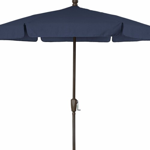 Fiberbuilt 7GCRCB-Navy Blue 7.5 ft. 6 Rib Crank Champagne Bronze Hex Garden Umbrella with Nav Perspective: front