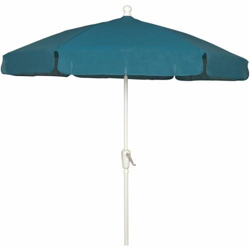 Fiberbuilt 7GCRW-Teal 7.5 ft. 6 Rib Crank White Hex Garden Umbrella with Teal Vinyl Coated We Perspective: front