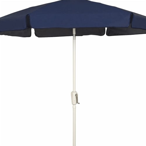 Fiberbuilt 7GCRW-Navy Blue 7.5 ft. 6 Rib Crank White Hex Garden Umbrella with Navy Blue Vinyl Perspective: front