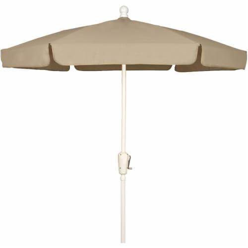 Fiberbuilt 7GCRW-Beige 7.5 ft. 6 Rib Crank White Hex Garden Umbrella with Beige Vinyl Coated Perspective: front