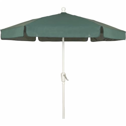 Fiberbuilt 7GCRW-Forest Green 7.5 ft. 6 Rib Crank White Hex Garden Umbrella with Forest Green Perspective: front