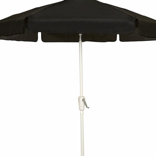 Fiberbuilt 7GCRW-Black 7.5 ft. 6 Rib Crank White Hex Garden Umbrella with Black Vinyl Coated Perspective: front