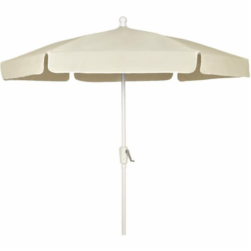Fiberbuilt 7GCRW-Natural 7.5 ft. 6 Rib Crank White Hex Garden Umbrella with Natural Vinyl Coa Perspective: front