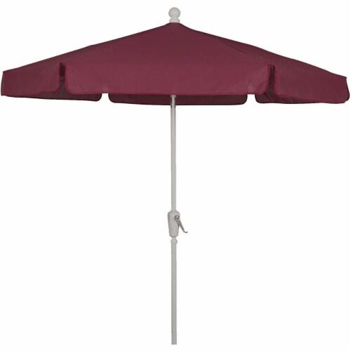 Fiberbuilt 7GCRW-Burgundy 7.5 ft. 6 Rib Crank White Hex Garden Umbrella with Burgundy Vinyl C Perspective: front