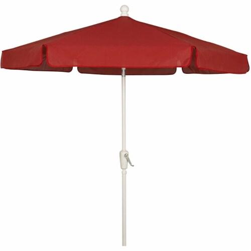 Fiberbuilt 7GCRW-Red 7.5 ft. 6 Rib Crank White Hex Garden Umbrella with Red Vinyl Coated Weav Perspective: front