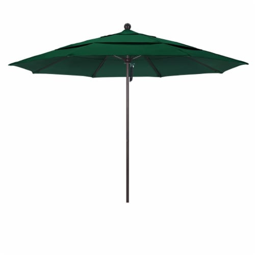 Venture 11' Bronze Market Umbrella in Green - California Umbrella Perspective: front