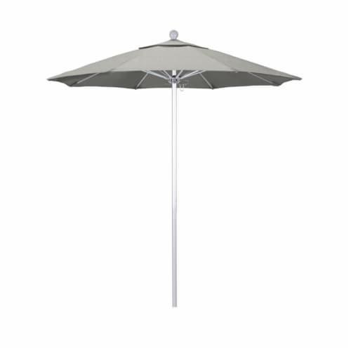 California Umbrella Venture 7.5' Silver Market Umbrella in Granite Perspective: front