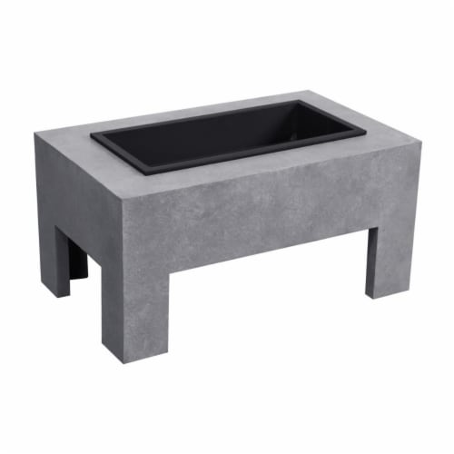 Astella FP202-CE Monolith Fire Basin, Light Gray Cement Perspective: front