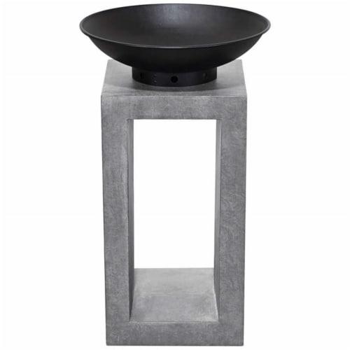 Astella FP204-CE Midas Fire Pedestal, Light Gray Cement Perspective: front