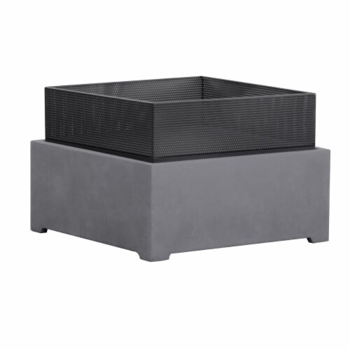 Astella FP205-GR 21.66 x 21.66 in. Sentinel Fire Basket in Gray Granite Perspective: front