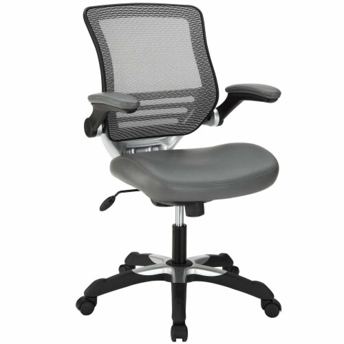 Gray Edge Vinyl Office Chair Perspective: front
