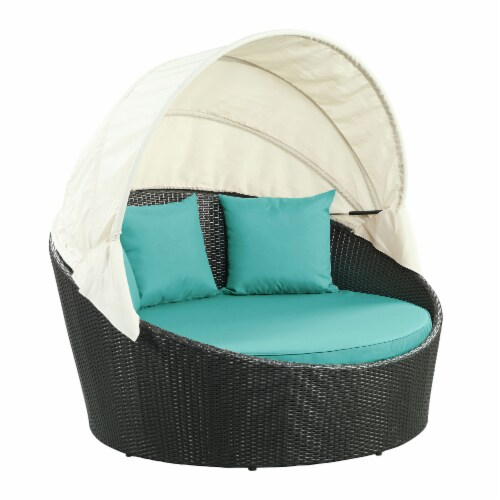 Siesta Canopy Outdoor Patio Daybed - Espresso Turquoise Perspective: front