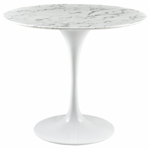 """Lippa 36"""" Round Artificial Marble Dining Table - White Perspective: front"""