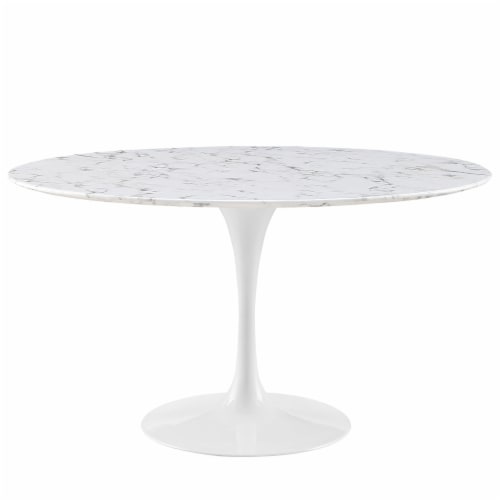"""Lippa 54"""" Round Artificial Marble Dining Table - White Perspective: front"""