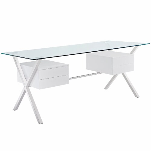 Abeyance Glass Top Office Desk - White Perspective: front