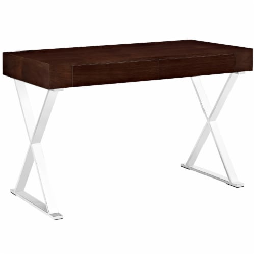 Sector Office Desk - Walnut Perspective: front