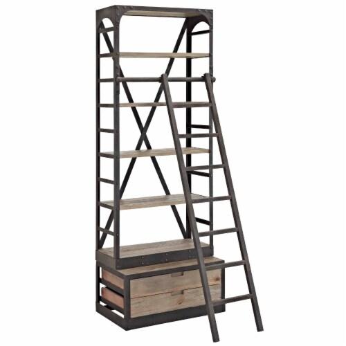 Velocity Wood Bookshelf - Brown Perspective: front