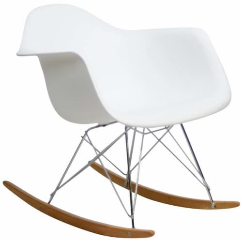 White Rocker Lounge Chair Perspective: front