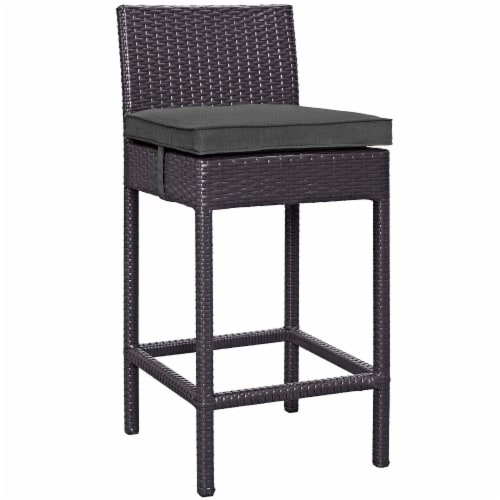 Convene Outdoor Patio Fabric Bar Stool - Espresso Charcoal Perspective: front